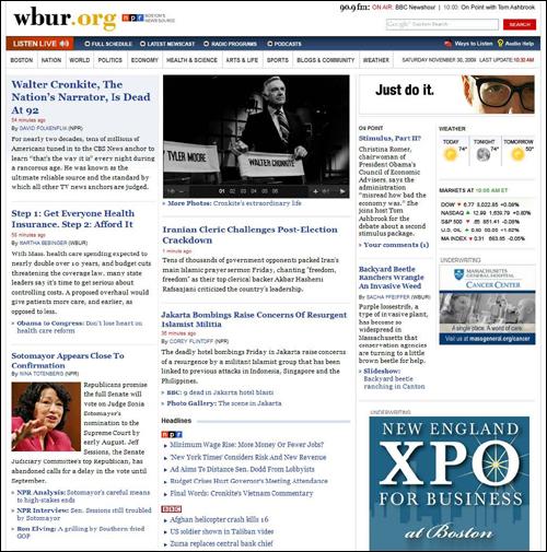 WBUR Homepage Redesign (Still a Work in Progress)